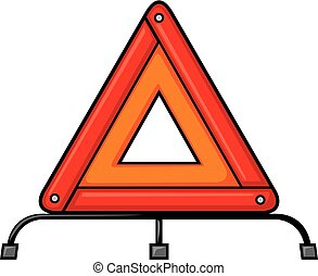Red warning triangle emergency road sign