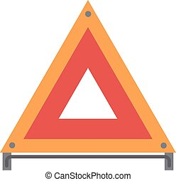 Red warning triangle emergency road sign flat vector illustration icon.