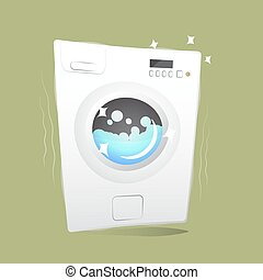 red washing machine in flat style. isolated on blue background. modern vector illustration