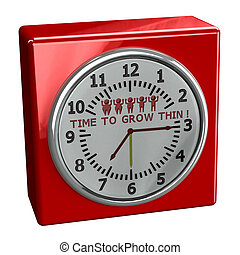 Red watch with words time to grow thin