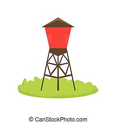 Red Water Barrel Cartoon Farm Related Element On Patch Of Green Grass