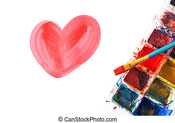 Red water color of heart shape with color palette