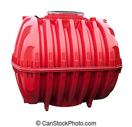 Red water tank isolated on a white background.