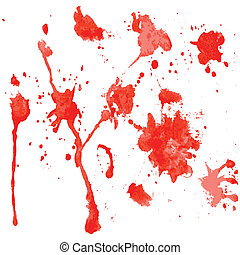 red watercolor blots on a white background