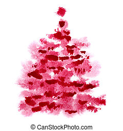 Red watercolor Christmas tree