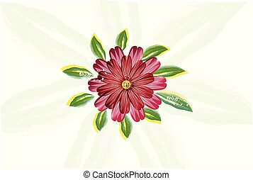 Red watercolor flower vector