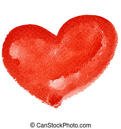 Red watercolor heart isolated on the white background -...