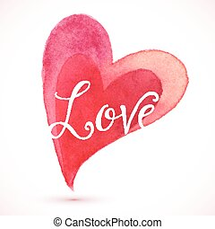 Red watercolor heart with Love sign
