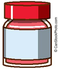 Red watercolor in bottle on white background