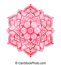 Red watercolor mandala - Red mandala with watercolor texture...