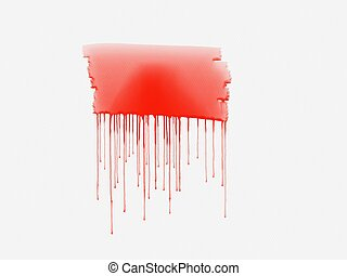 Red watercolor paint on a white background