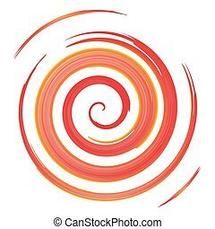 red watercolor spiral, vector illustration