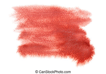 Abstract red watercolor stain isolated over the white background - space for your own text