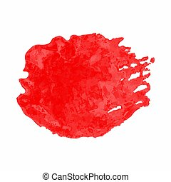 Red watercolor stain isolated on white background