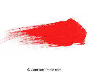Red watercolor stroke isolated on white background