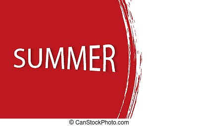 red watercolor summer banner