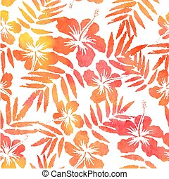 Red watercolor vector hibiscus seamless pattern - Red...