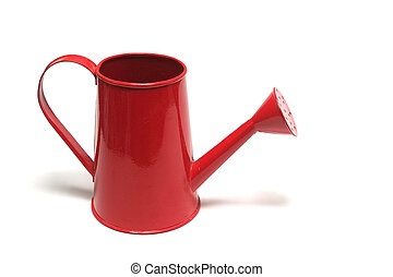 Red watering can isolated on white background