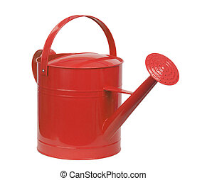 red watering can isolated on white