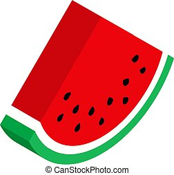 Red watermelon isometric isolated on white background, flat style. Vector illustration