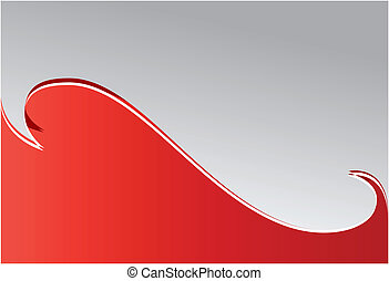 Red wave. Background. Vector art.