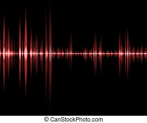 red wave of sound in black background