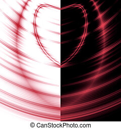 red waves of heart on a contrast white-black background