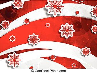 Red wavy Christmas background with snowflakes