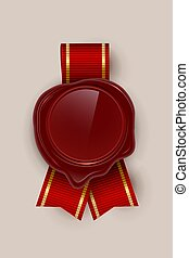 Red wax rero seal color vector illustrations on brown background