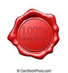 Red Wax Seal - 100% Guarantee - Isolated