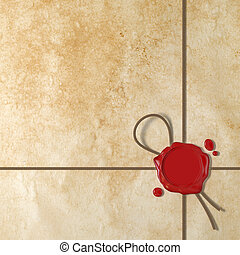 Red wax seal - Very high resolution 3d rendering of a red...