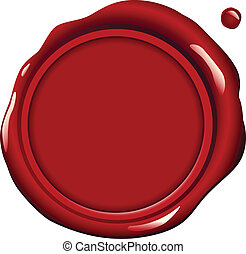 Red Wax Seal - Realistic red wax seal vector illustration -...