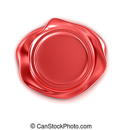 Red wax seal isolated on white