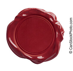 red wax seal isolated with clipping path included - Red wax...