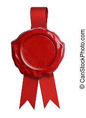 Red wax seal or signet with ribbon isolated