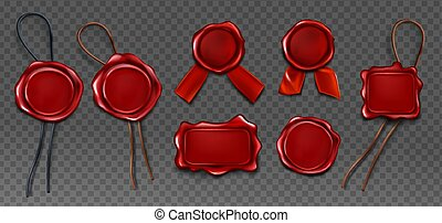 Red wax seal stamp approval sealing icons set