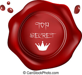 Red wax seal ,vector, royal top secret