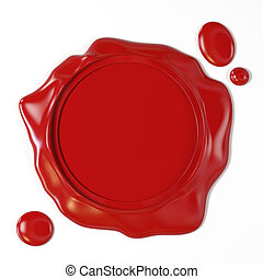 Red wax seal - Very high resolution 3d rendering of a red ...
