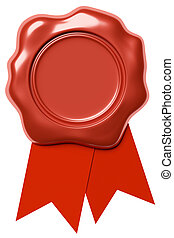 Red wax seal with red ribbon isolated on white