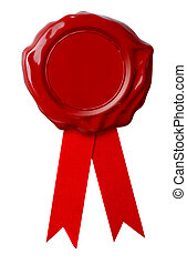 Red wax seal with ribbon isolated on white