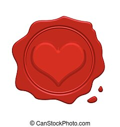 Red wax stamp with heart inside