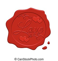 Red wax stamp with two hearts inside on a white background,...