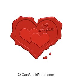 Red wax stamp with two hearts insid