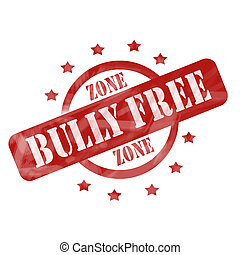 Red Weathered Bully Free Zone Stamp Circle and Stars design...