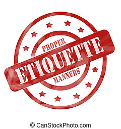 Red Weathered Etiquette Stamp Circles and Stars - A red ink...