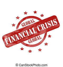 A red ink weathered roughed up circle and stars stamp design with the words GLOBAL FINANCIAL CRISIS on it making a great concept.