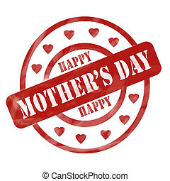 Red Weathered Happy Mother's Day Stamp Circles and Hearts