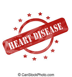 Red Weathered Heart Disease Stamp Circle and Stars design