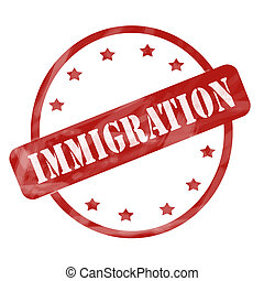 Red Weathered Immigration Stamp Circle and Stars - A red ink...