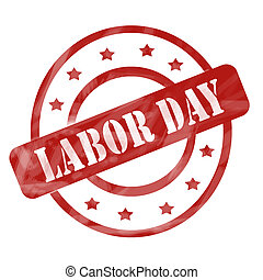 Red Weathered Labor Day Stamp Circles and Stars - A red ink...